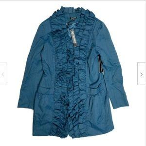 Samuel Dong New M Blue Ruffled Jacket Blazer Zip